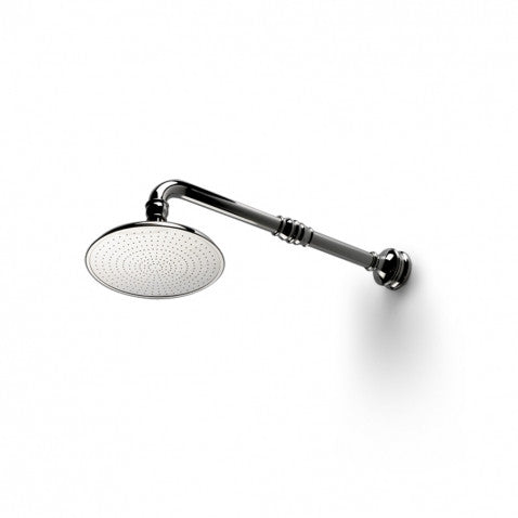 "Waterworks Etoile Wall Mounted 8"" Shower Rose, Arm and Flange in Matte Nickel"