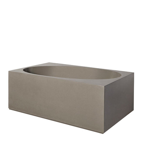 "Formwork 66"" x 40"" x 24"" Lithic Freestanding or Alcove Box Bathtub with Left Drain in Sable Gray"