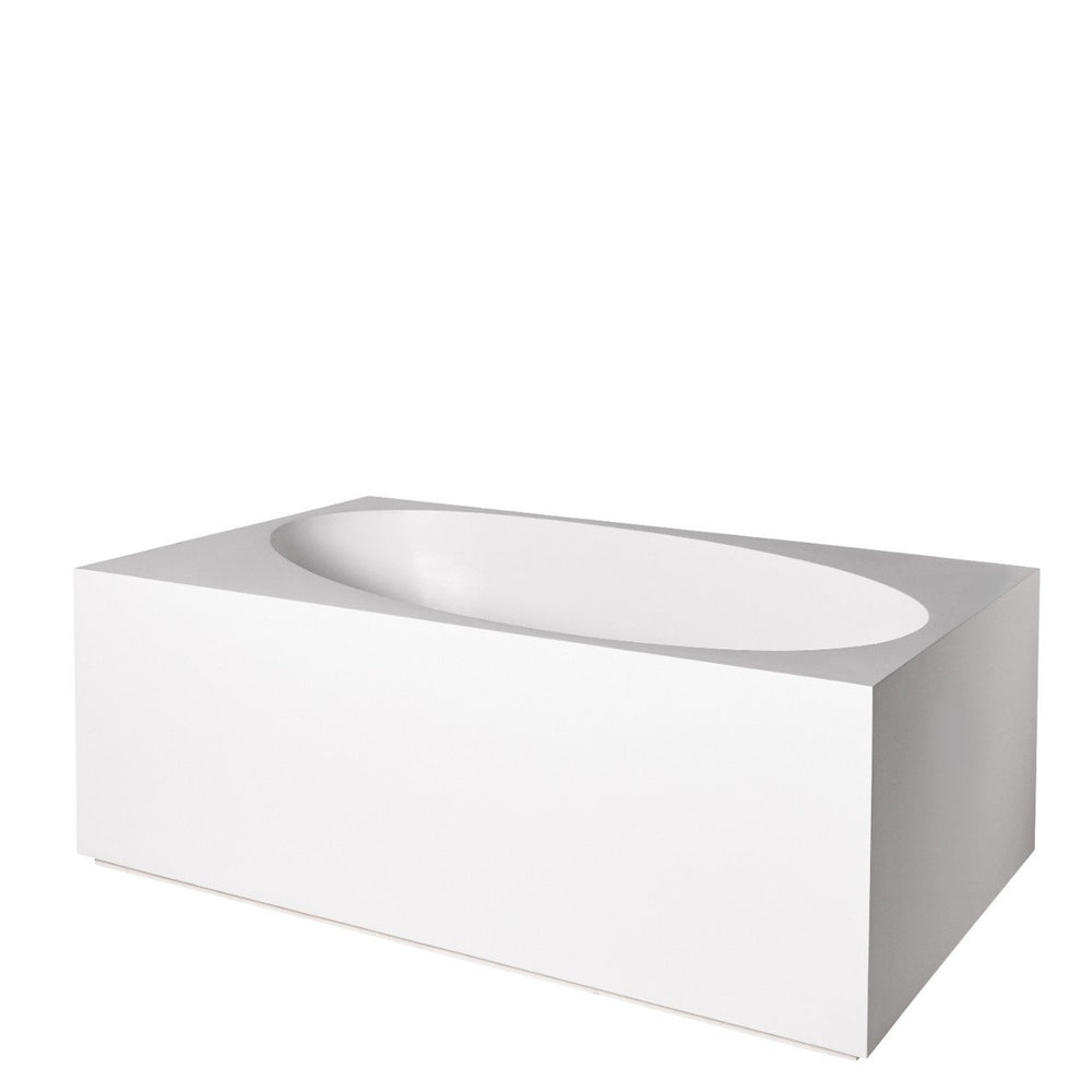 "Waterworks Formwork 66"" x 40"" x 24"" Lithic Freestanding or Alcove Box Bathtub in Matte White"