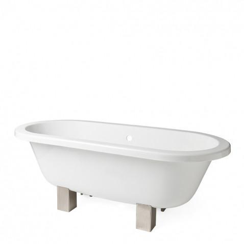 Waterworks Garret Oval Freestanding Bathtub with Center Drain (Without Feet)