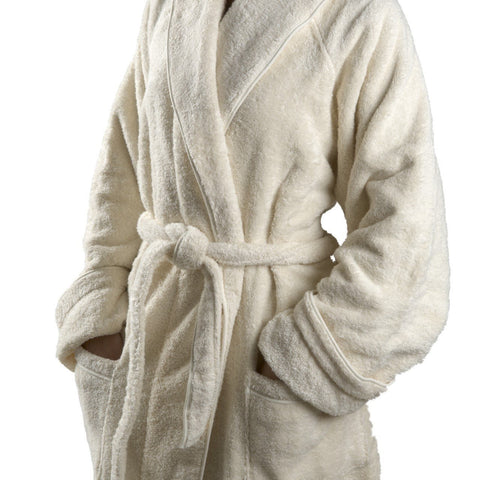 Gotham Unisex Robe Small in Ecru with Ecru Trim