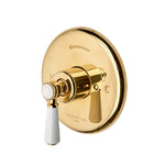 Highgate Pressure Balance Control Valve Trim with White Porcelain Lever Handle in Brushed Copper