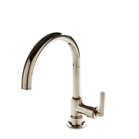 Henry One Hole Gooseneck Kitchen Faucet, Metal Lever Handle in Nickel