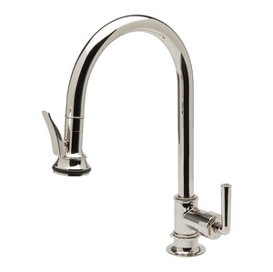 Waterworks Henry One Hole Gooseneck Kitchen Faucet with Pull Down Spray in Antique Brass