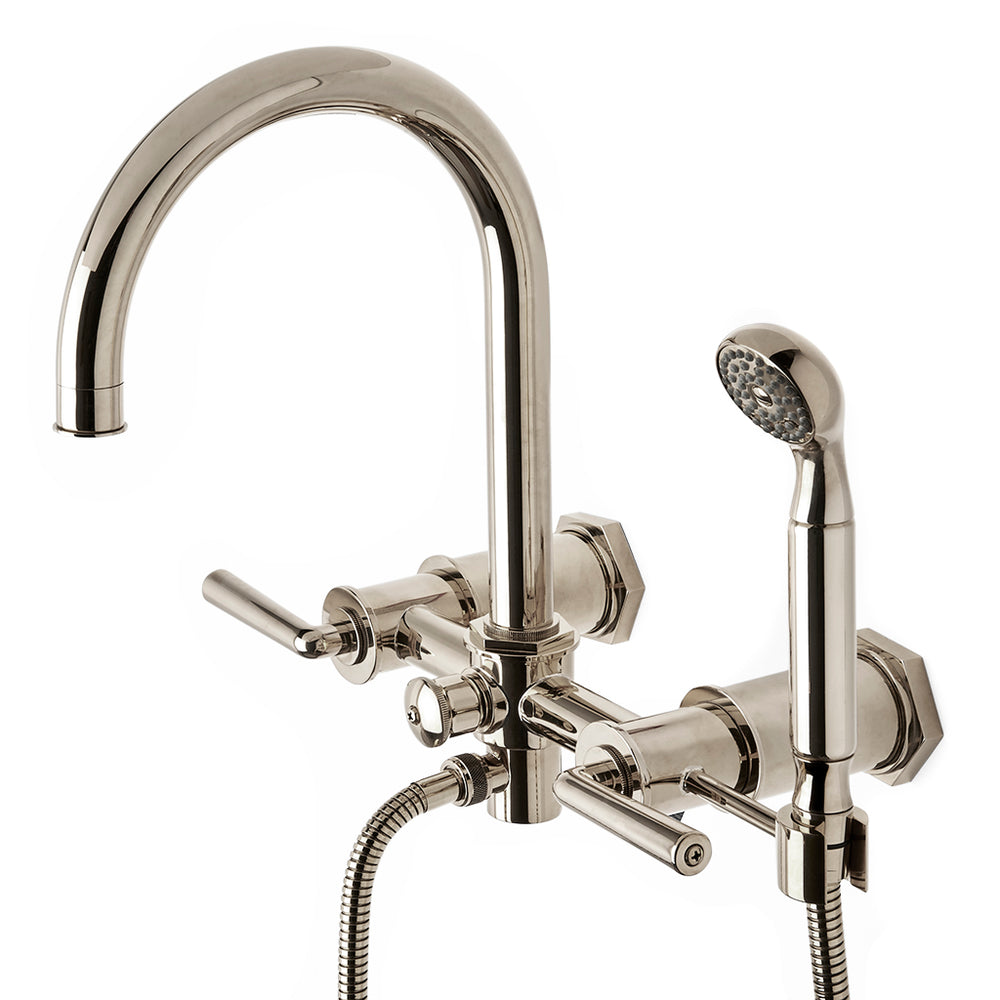 Waterworks Henry Exposed Wall Mounted Tub Filler with Handshower in Nickel