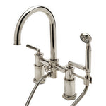 Henry Exposed Deck Mounted Tub Filler with 1.75gpm Handshower and Metal Lever Handles in Brass