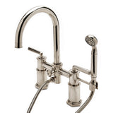 Henry Exposed Deck Mounted Tub Filler with Handshower and Metal Lever Handles in Matte Nickel