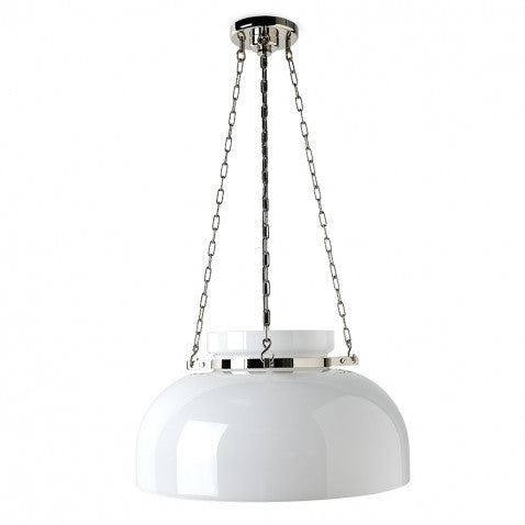 Ceiling Mounted Pendant with Glass Shade in Unlacquered Brass