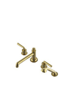 Waterworks Henry Low Profile Concealed Tub Filler with Handshower in Unlacquered Brass