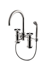 Waterworks Henry Exposed Deck Mounted Tub Filler with 1.75gpm Handshower and Metal Cross Handles in Nickel
