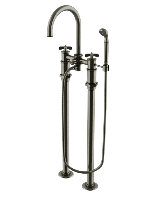 Waterworks Henry Floor Mounted Tub Faucet with Handshower in Pewter