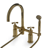 Henry Exposed Deck Mounted Tub Filler with Handshower and Metal Cross Handles in Chrome