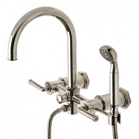 Waterworks Henry Wall Mounted Tub Faucet with Handshower in Burnished Nickel