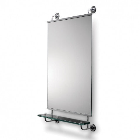Waterworks Highgate Stationary Mirror with Shelf in Chrome