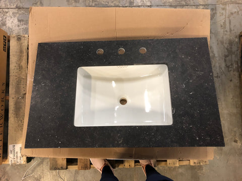 "Waterworks Keystone Moorland Single Fabricated Slab 26"" x 22"" x 3/4"" with straight Edge in Piedmont Honed (UNLV22 included)"