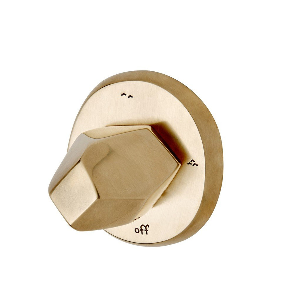 Waterworks Isla Three Way Diverter Valve Trim for Thermostatic System in Burnished Brass