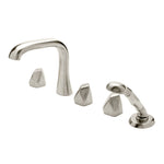 Waterworks Isla Deck Mounted High Profile Concealed Tub Filler with Handshower in Burnished Nickel