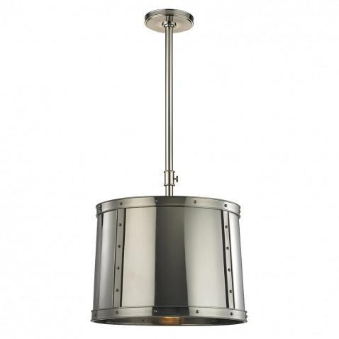 Ipswich Ceiling Mounted Pendant with Metal Shade in Burnished Nickel