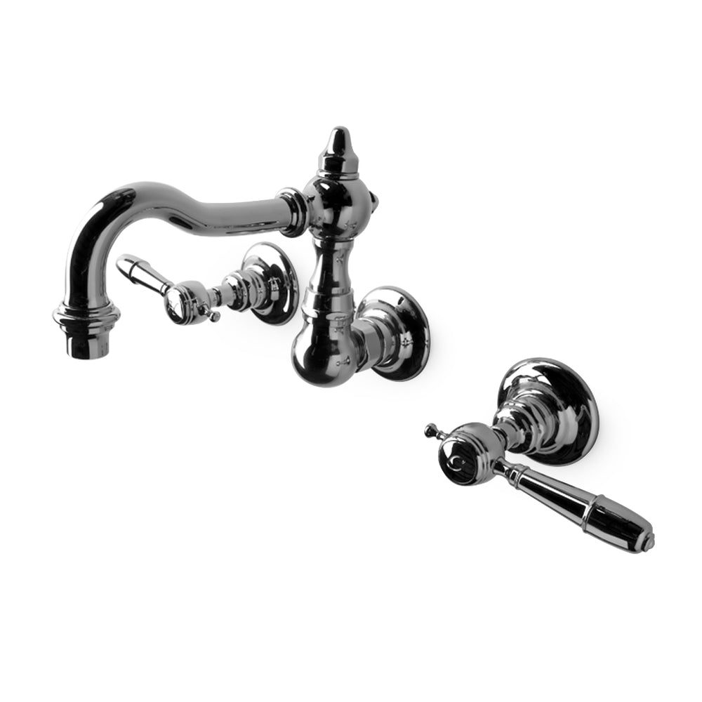 Waterworks Julia High Profile Wall Mounted Lavatory Faucet with Metal Lever Handles in Unlacquered Brass