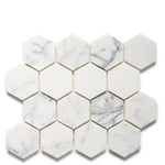"Waterworks Keystone 3"" Hexagon Mosaic in Ariel Polished"