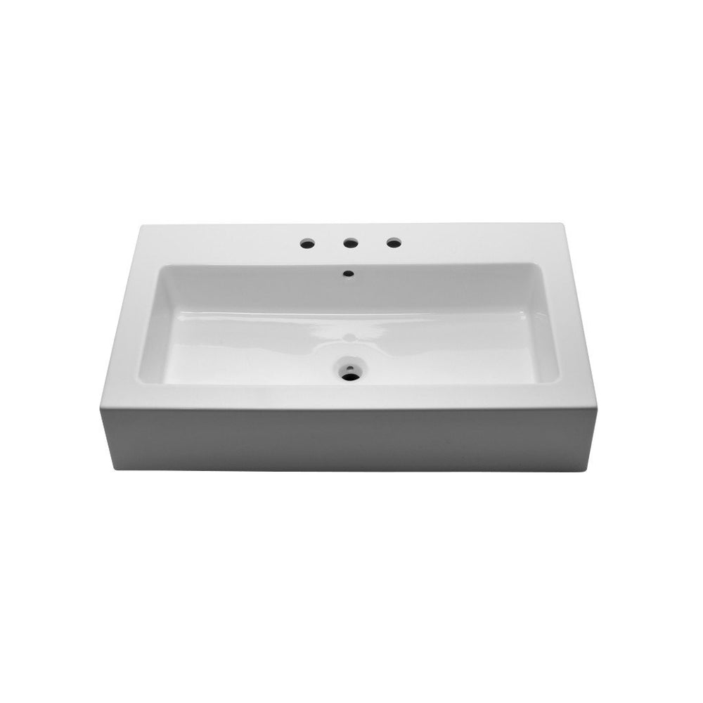 "Waterworks Larsen Rectangular Porcelain Lavatory Sink (1 Hole) Double Glazed 39 9/16"" x 18 1/2"" x 6"" in White"