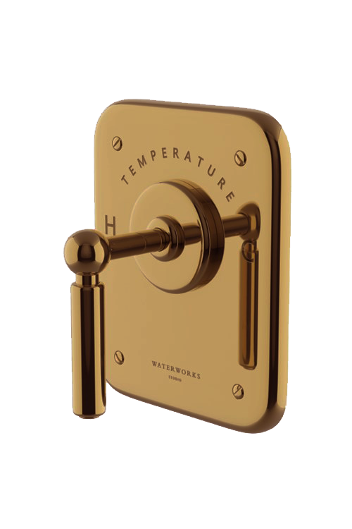 Waterworks Ludlow Thermostatic Control Valve Trim in Antique Brass
