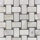 Marble Basketweave Mosaic with Dark Olive Dots in Calacatta