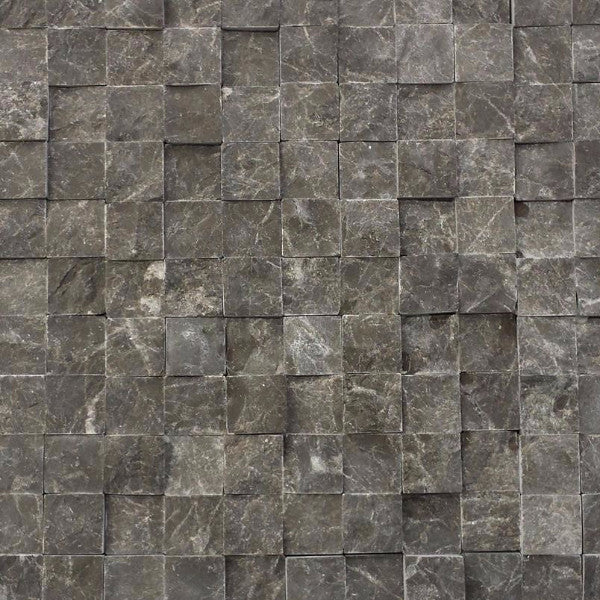 Marble Split Face Mosaic Tile 1 x 1 in Dark Olive Green