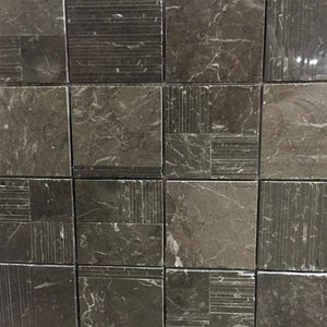 Marble Stick Composition Mosaic Tile in Dark Olive Green