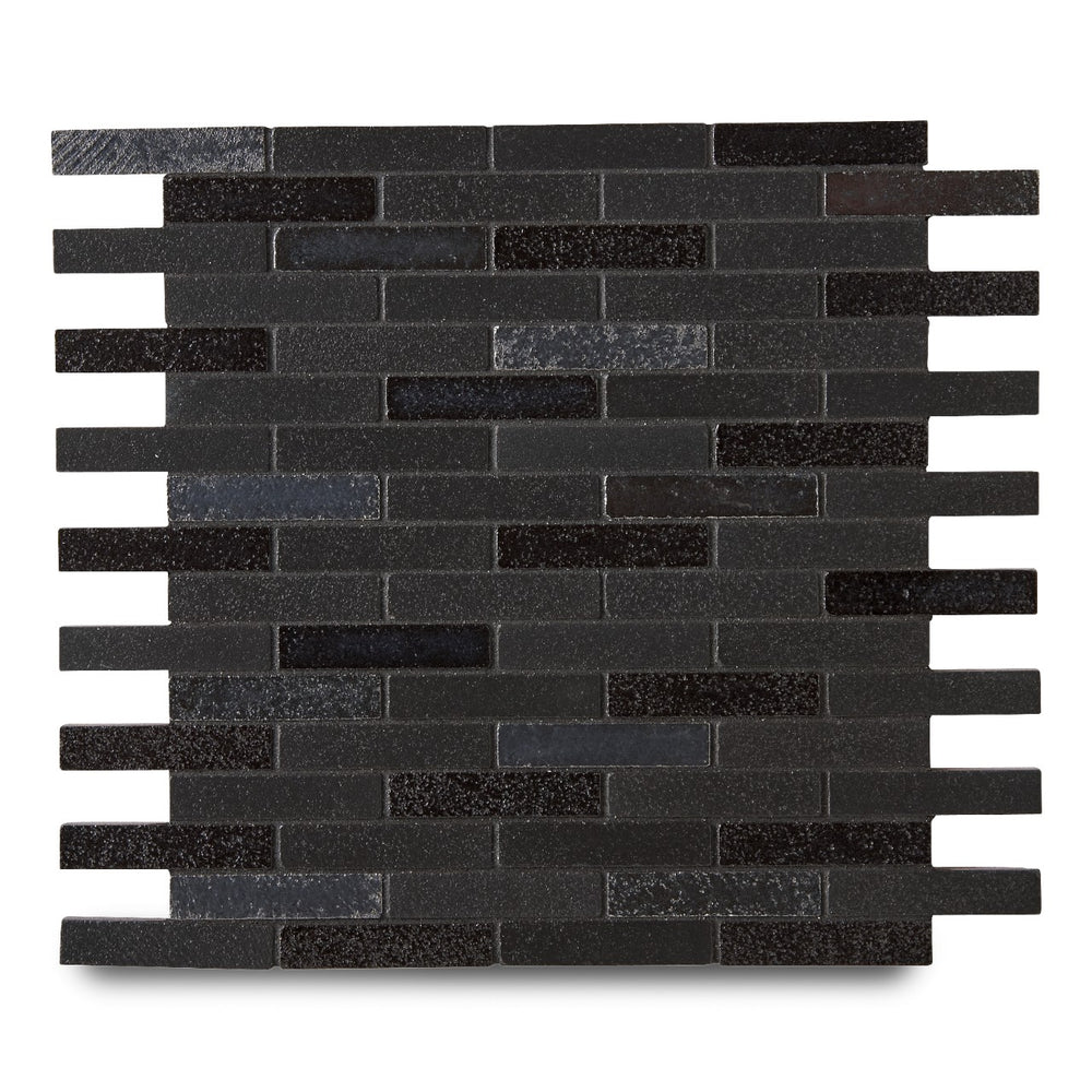 "Waterworks Magma Brick 1/2"" x 2 3/4"" Mosaic in Nightwatch / Midnight Matte Blend"