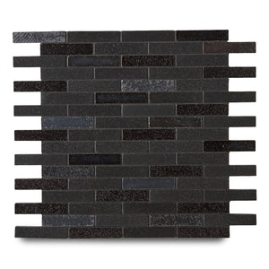 "Waterworks Magma Brick 1/2"" x 2 3/4"" Mosaic in Nightwatch / Midnight Matte Blend For Sale Online"