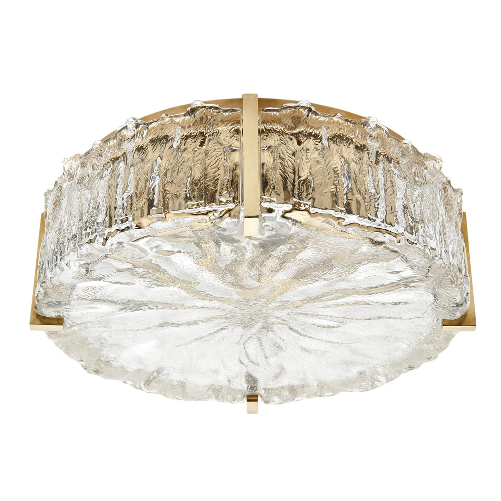 Waterworks Marlon Ceiling Flush Mount with Glass Shade in Unlacquered Brass