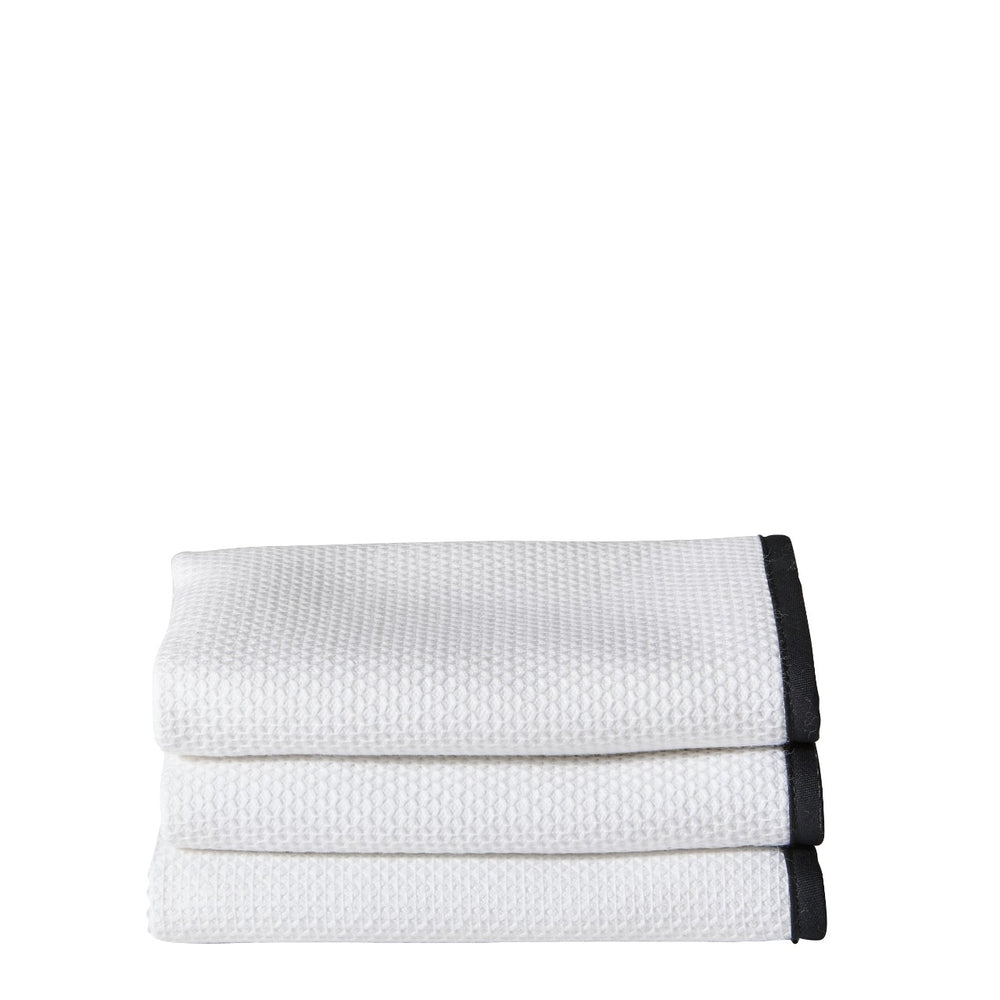 Waterworks Marseille Wash Towel in White/Black