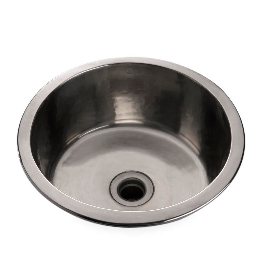Waterworks Normandy Hammered Copper Round Bar Sink with Center Drain in Chrome