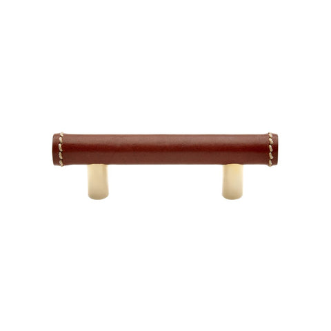 "Napa 4"" Chestnut Leather Pull in Unlacquered Brass"