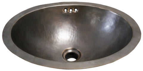 "Normandy Drop In or Undermount Oval Hammered Copper Lavatory Sink 21 5/8"" x 14 9/16"" x 6 7/8"" in Antique Copper"