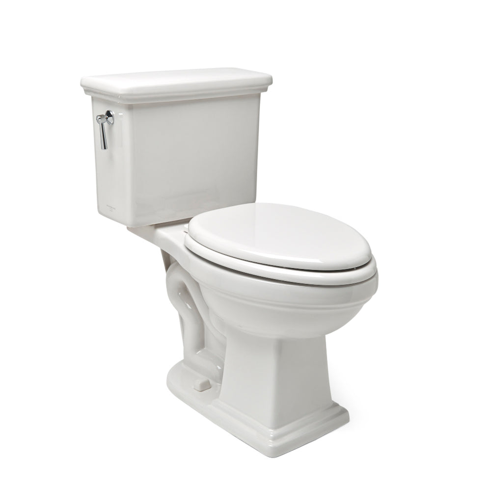 Waterworks Otis High Efficiency Watercloset Bowl and Lid in Bright White with Metal Lever Handle in Matte Nickel