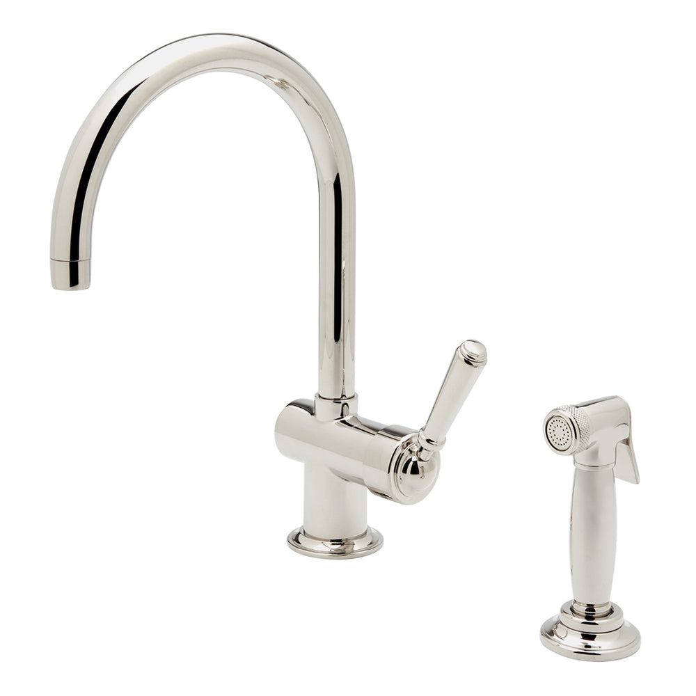 Waterworks Orleans One Hole Gooseneck Kitchen Faucet and Spray in Unlacquered Brass