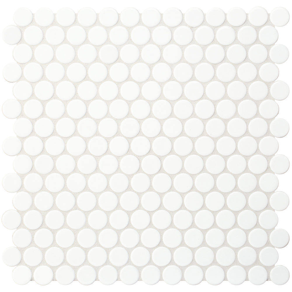 "Waterworks Penny Tile 1"" Penny Mosaic in Iceberg Glossy"