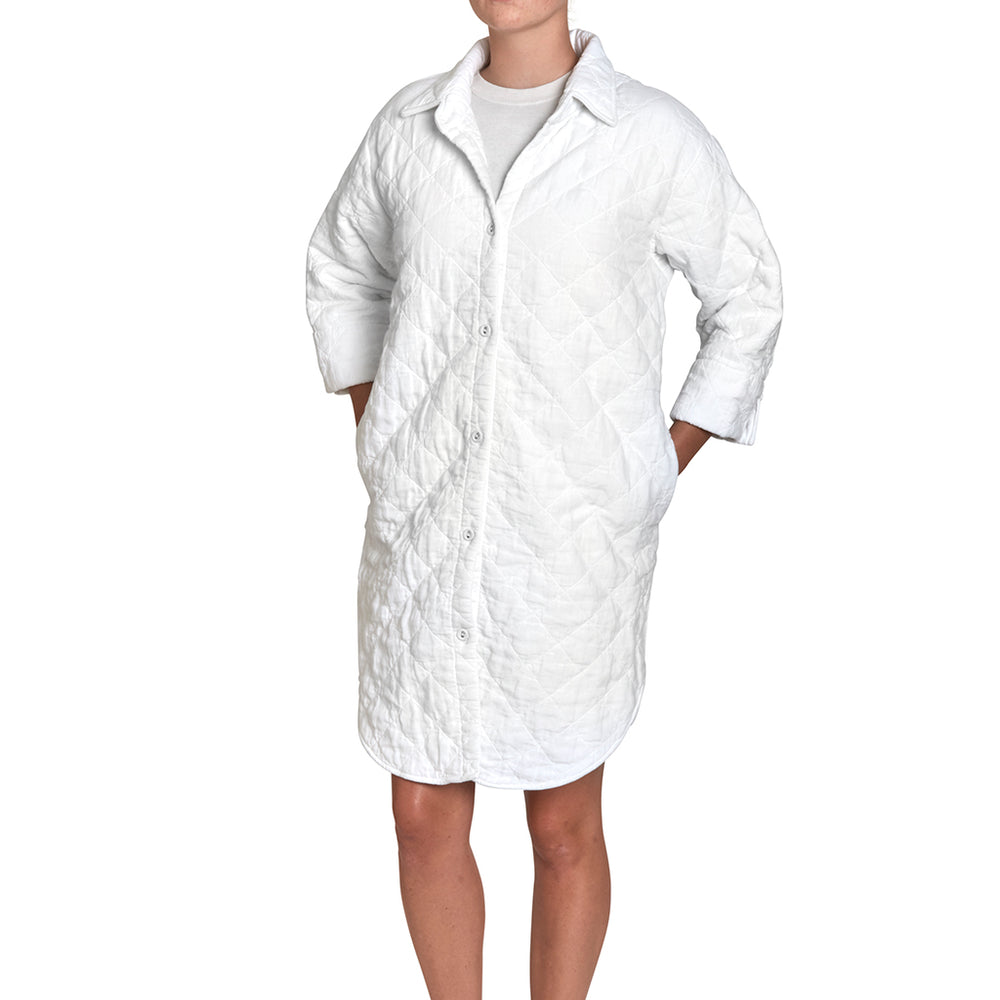 Waterworks Poole Quilted Shirt Robe Large in White