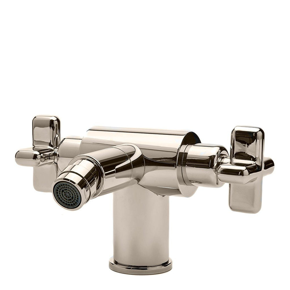 Waterworks .25 One Hole Bidet Fitting with Cross Handles in Nickel