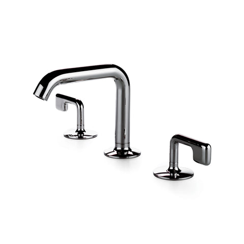 .25 High Profile Three Hole Deck Mounted Bathroom Faucet with Metal Lever Handles in Nickel