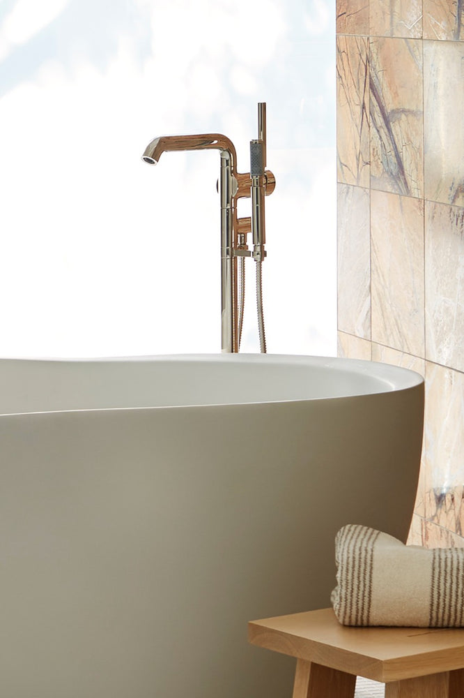 Waterworks .25 Floor Mounted Exposed Tub Filler With Handshower and Joystick Handle in Burnished Nickel (Trim only)