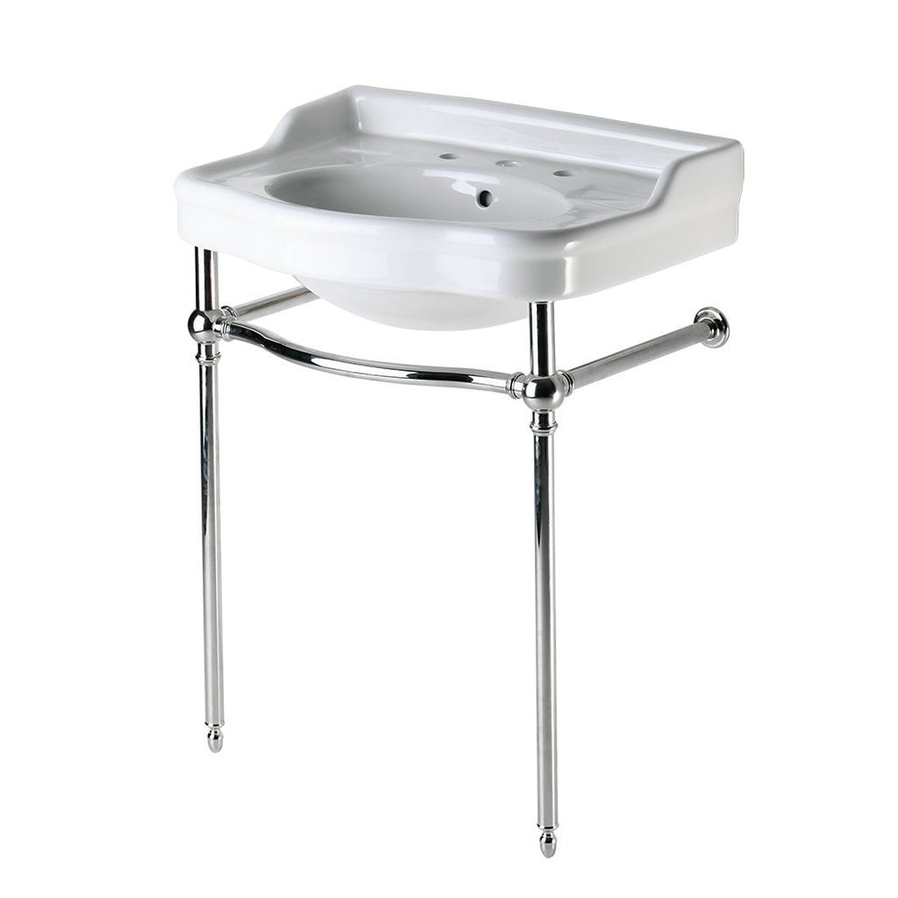 Waterworks Palladio Metal Round Two Leg Single Washstand in Matte Nickel