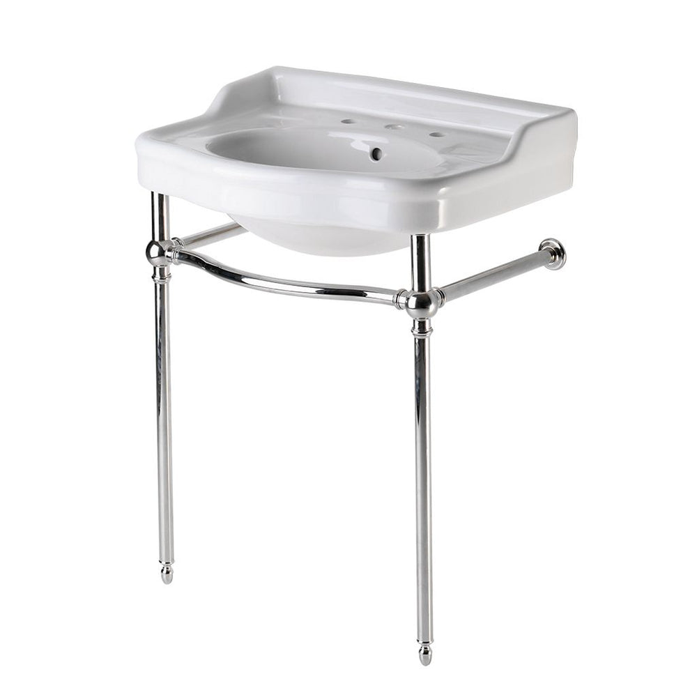 Waterworks Palladio Metal Washstand with Sink in Unlacquered Brass