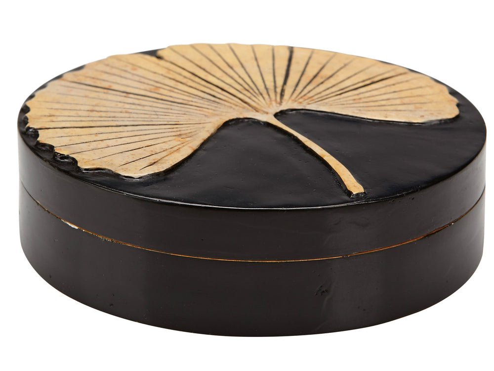 Kravet Hollier Round Box in Black / Gold For Sale