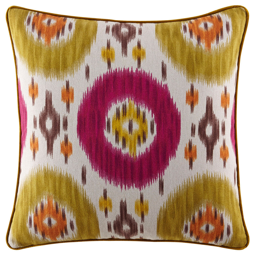 Kravet Paris Ikat Pillow in Magenta