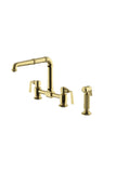 R.W. Atlas Bridge High Profile Kitchen Faucet with Metal Side Mount Levers and Spray in Unlacquered Brass