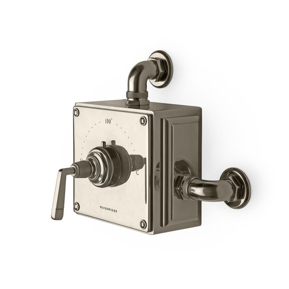 Waterworks RW Atlas Exposed Thermostatic Valve in Unlacquered Brass
