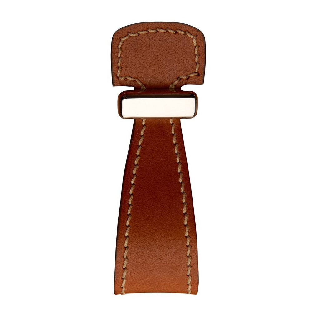 "Waterworks Rockport 1 1/4"" Tan Leather Strap Pull in Unlacquered Brass"